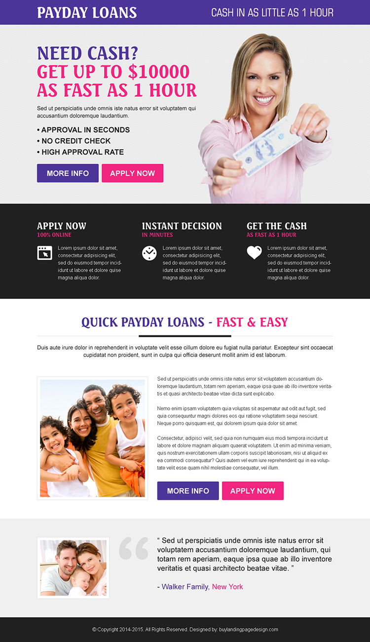 responsive easy payday loan squeeze page design