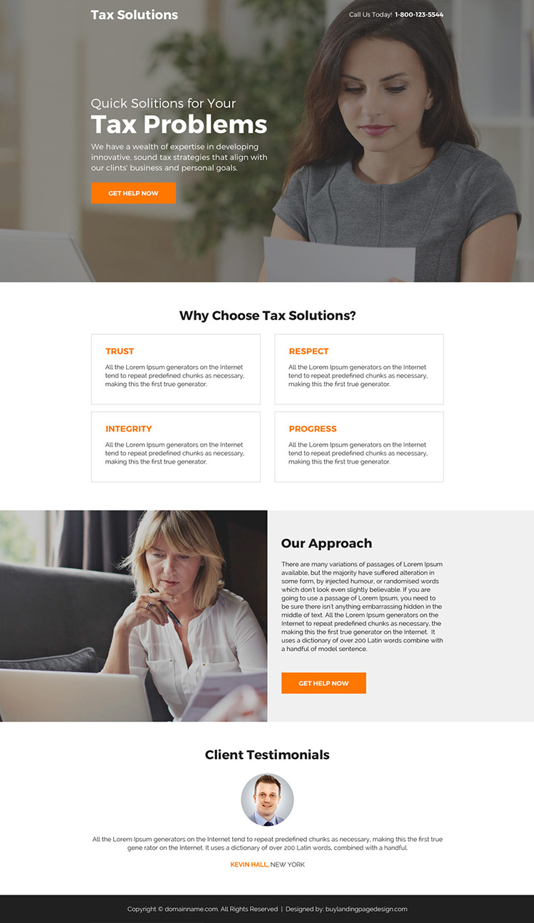 quick tax solutions for your tax problem minimal landing page design