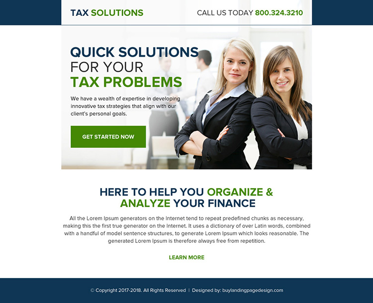 quick tax solution professional ppv landing page design