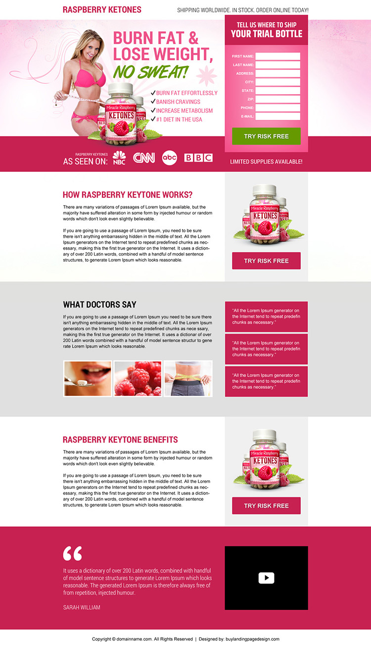 raspberry ketone weight loss best responsive landing page design