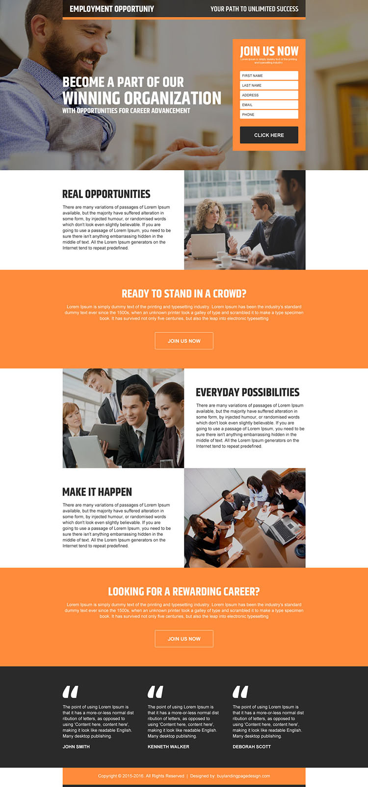 real employment opportunity lead generating landing page design