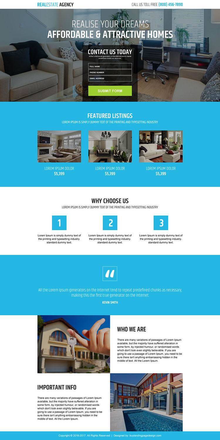 real estate agency business responsive landing page