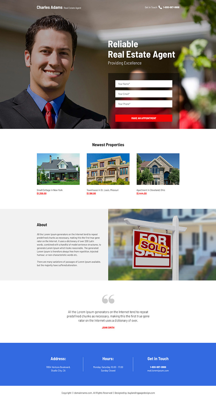 reliable real estate agent appointment booking responsive landing page