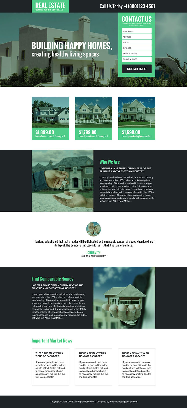 real estate best deal lead generating landing page design