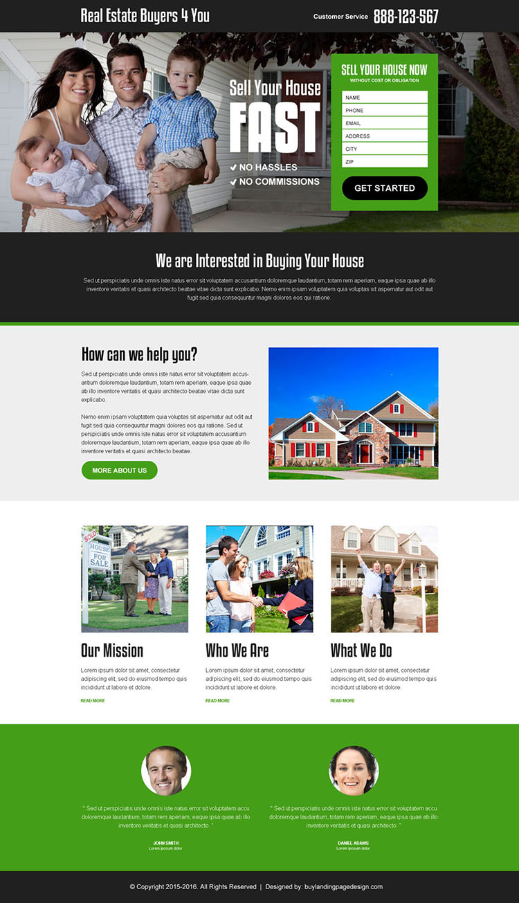 real estate buyer agency lead generation responsive landing page design