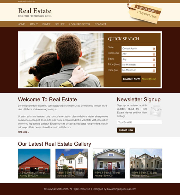 real estate buyer simple and converting lead capture website template psd