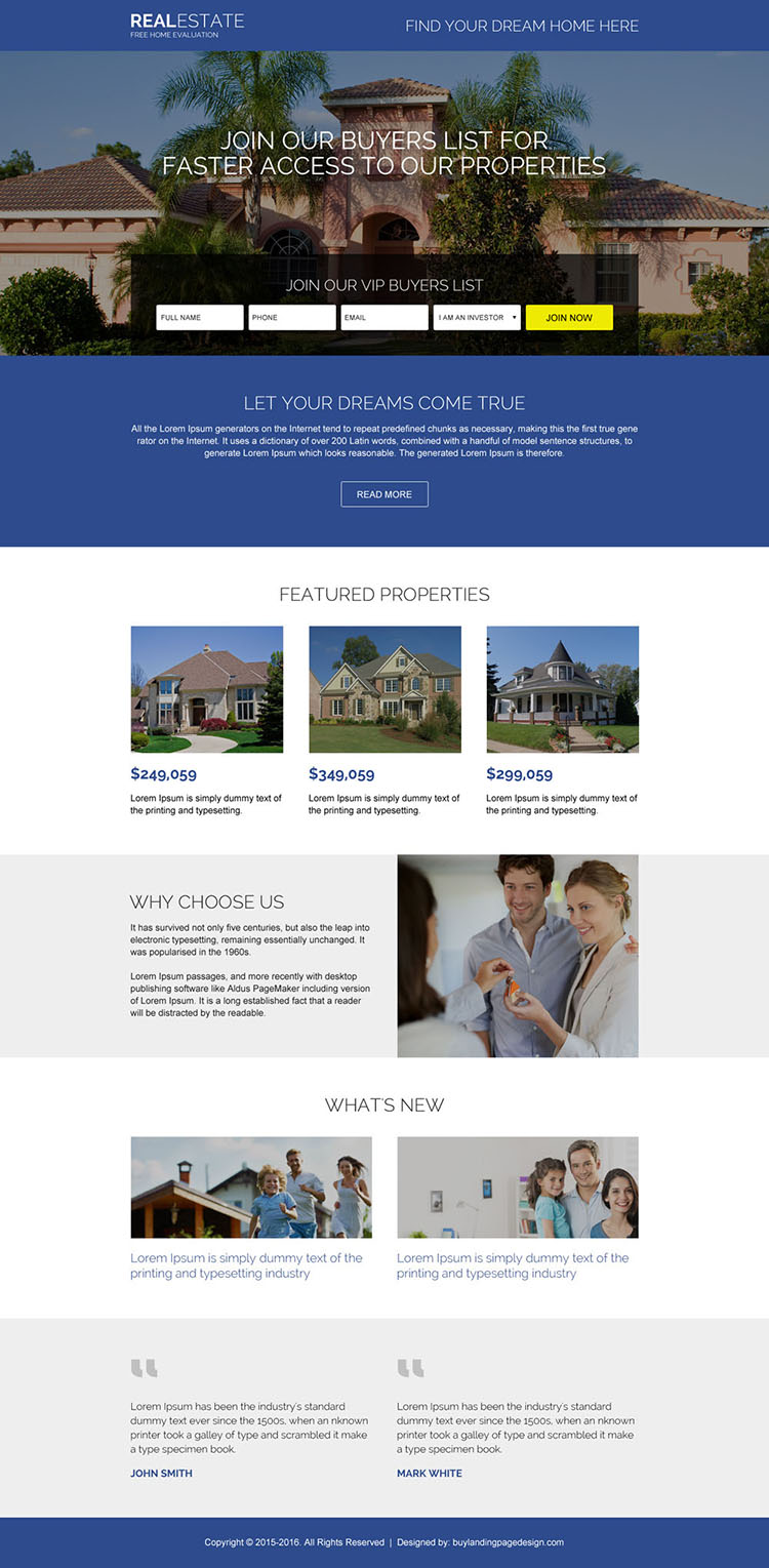 real estate listing lead capturing landing page design