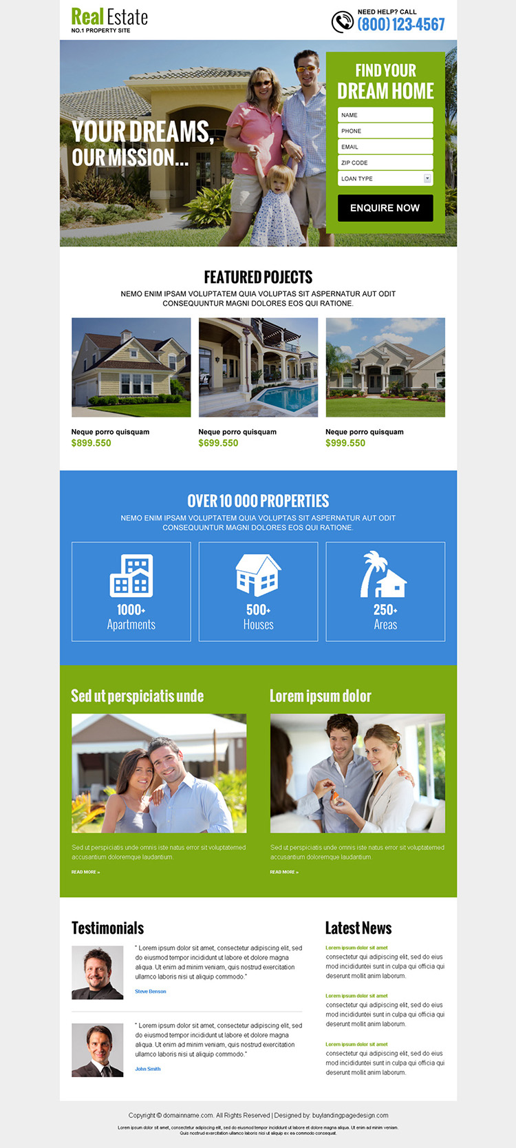real estate listing best responsive landing page design