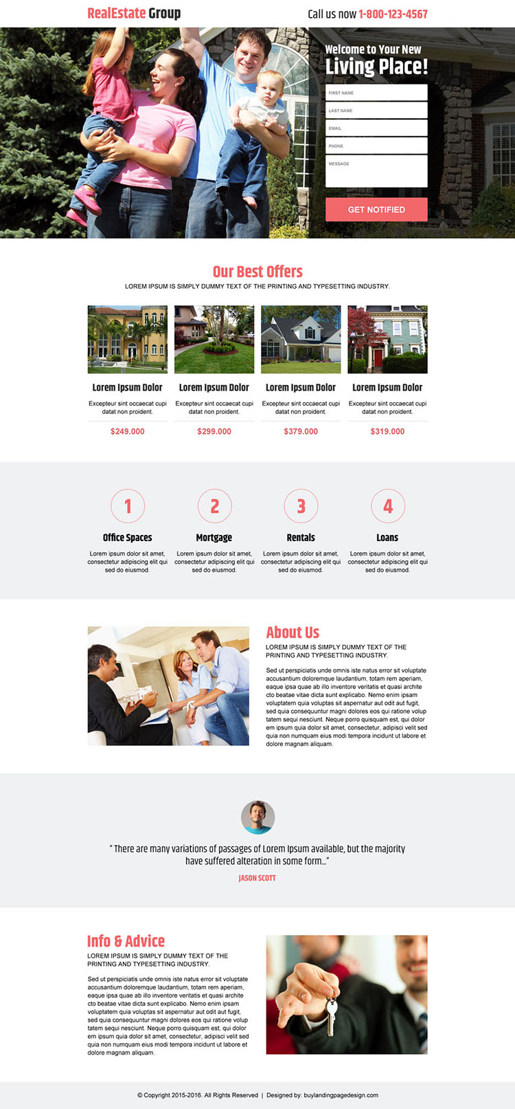 real estate group best deals responsive landing page design