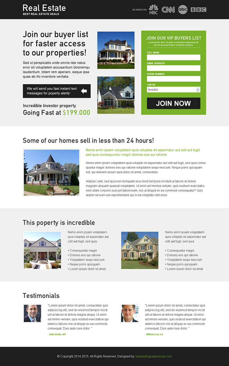 real estate deals buyer list lead capture effective and best landing page design