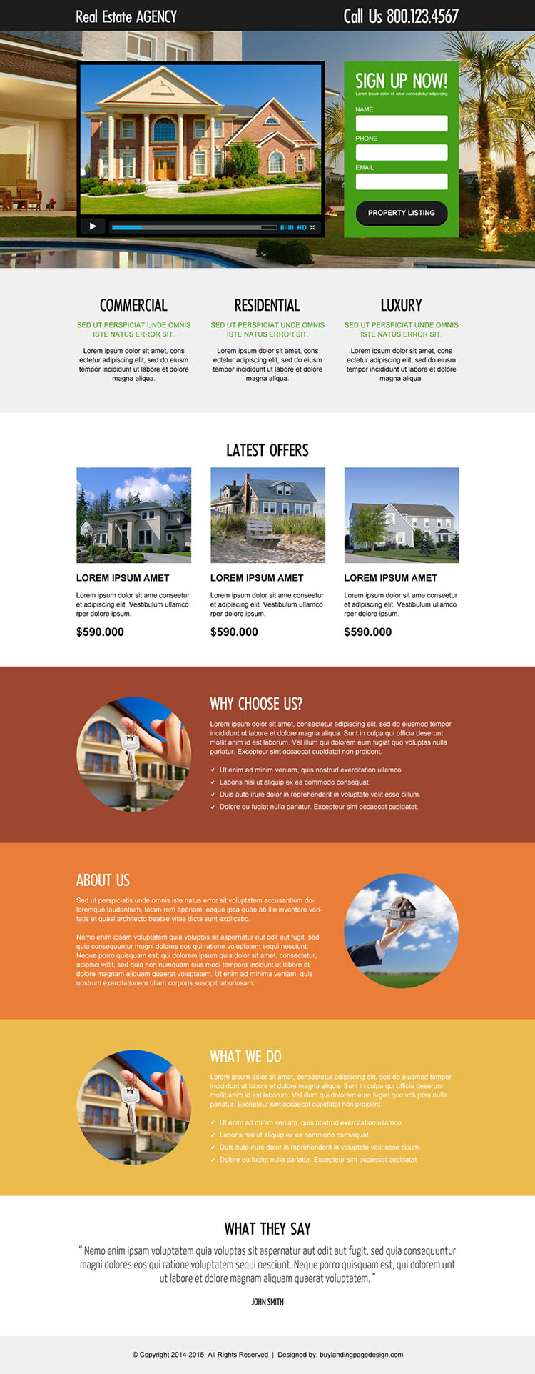 real estate agency lead generating and converting video landing page design