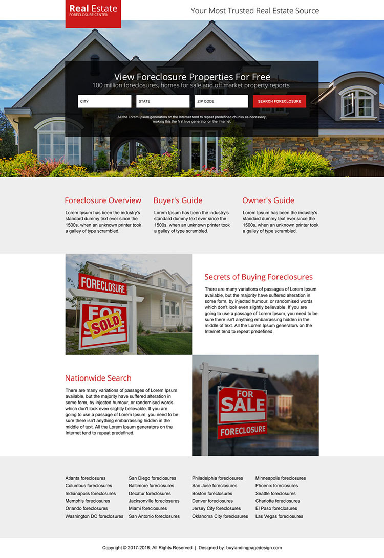 real estate foreclosure properties landing page design