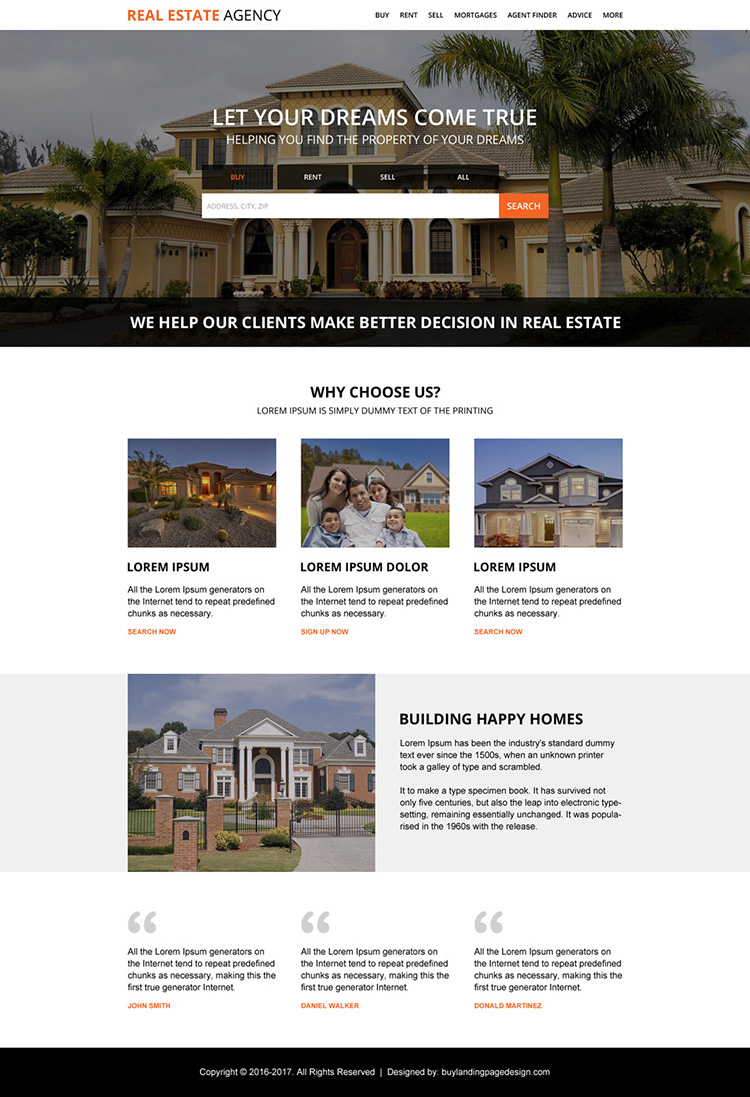real estate property dealers agency responsive landing page design