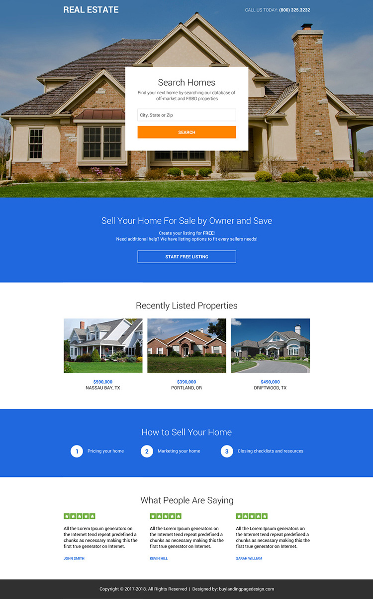 premium real estate listing clean landing page design