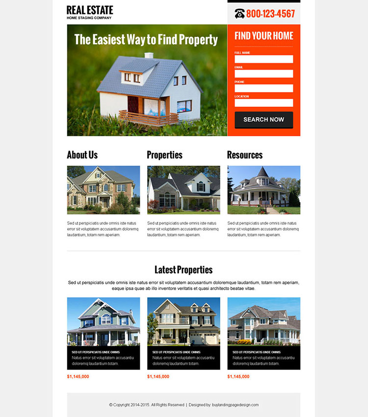 clean and converting real estate lead capture landing page design