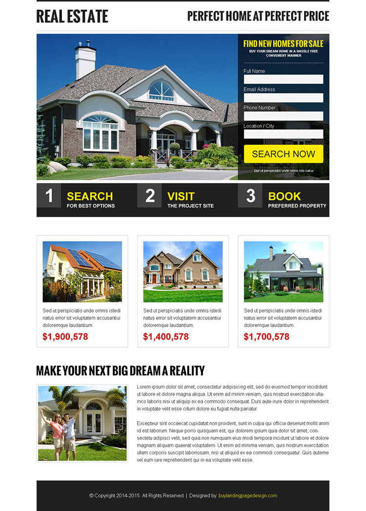 creative and appealing real estate small lead capture form landing page design template
