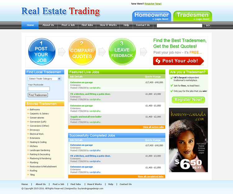 real estate trading website template design psd for sale