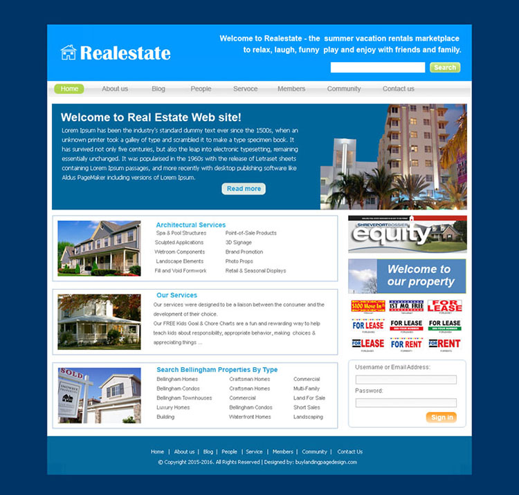 real estate website template design psd for sale