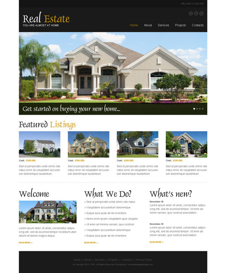 real estate clean and attractive website template psd for your real estate business