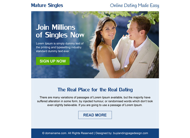 minimal mature singles dating ppv landing page design