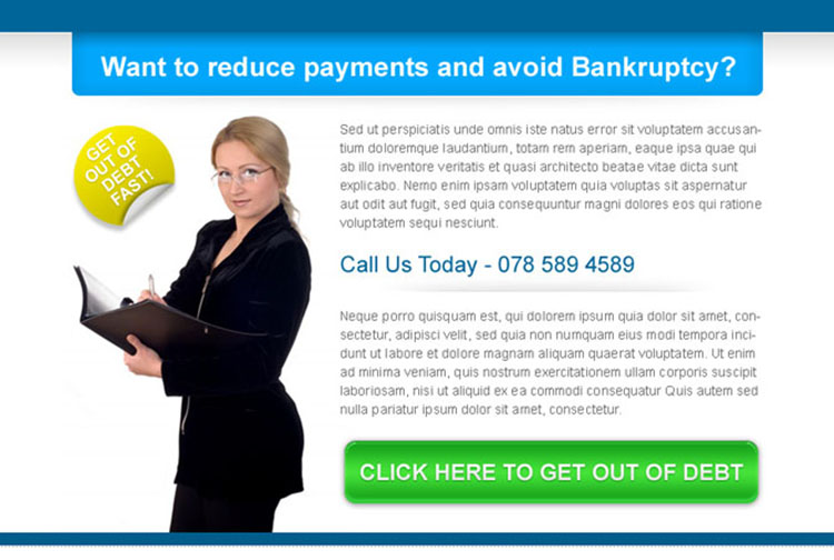 reduce payments and avoid bankruptcy high converting ppv landing page design template