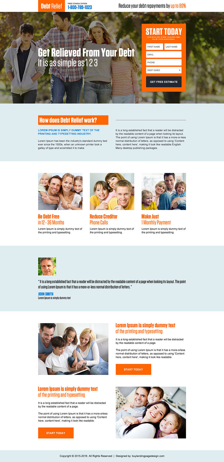 debt relief free consultation small lead magnet html landing page design
