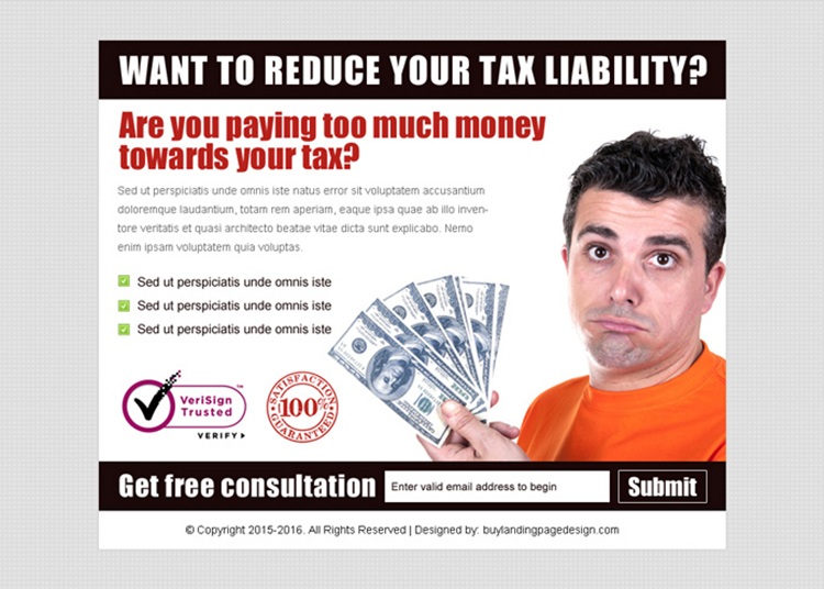 reduce your tax liability lead gen ppv landing page design template