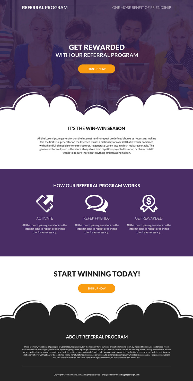 referral program sign up capturing landing page design