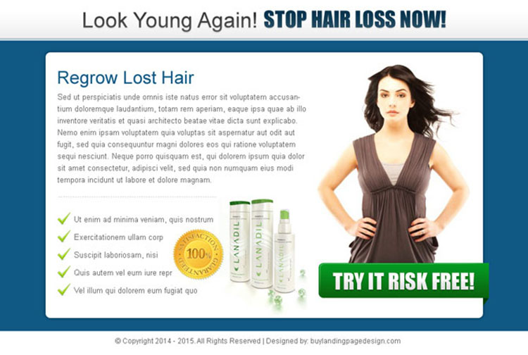 look young again stop hair loss now clean and effective ppv landing page design
