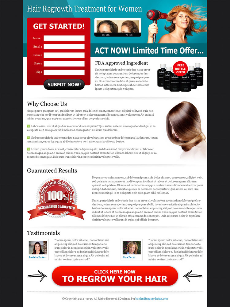 hair regrowth treatment for women optimized and converting landing page design