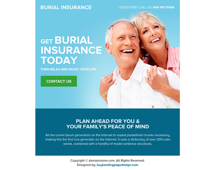 appealing burial insurance lead generating ppv landing page