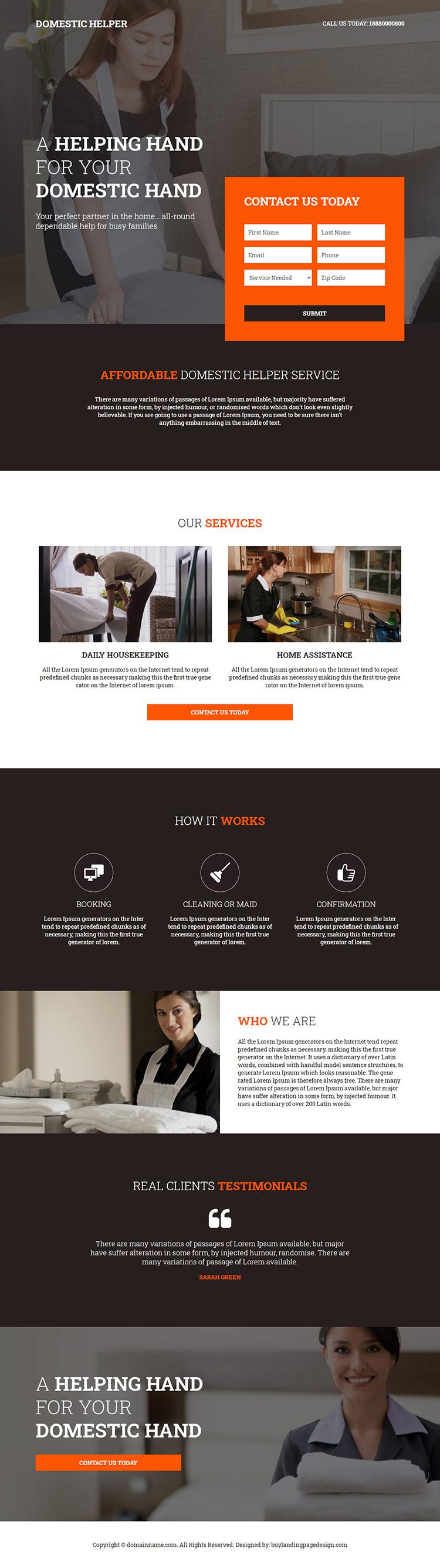 reliable domestic helper service responsive landing page design