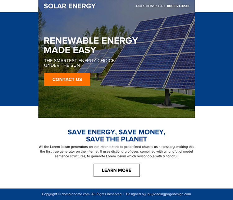 renewable solar energy call to action ppv landing page