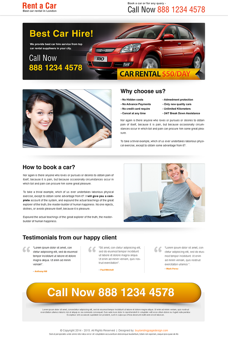 rent a car call to action lander design