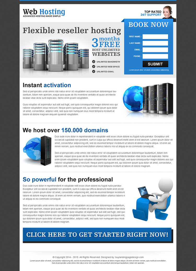 web hosting re-seller hosting lead capturing most converting landing page