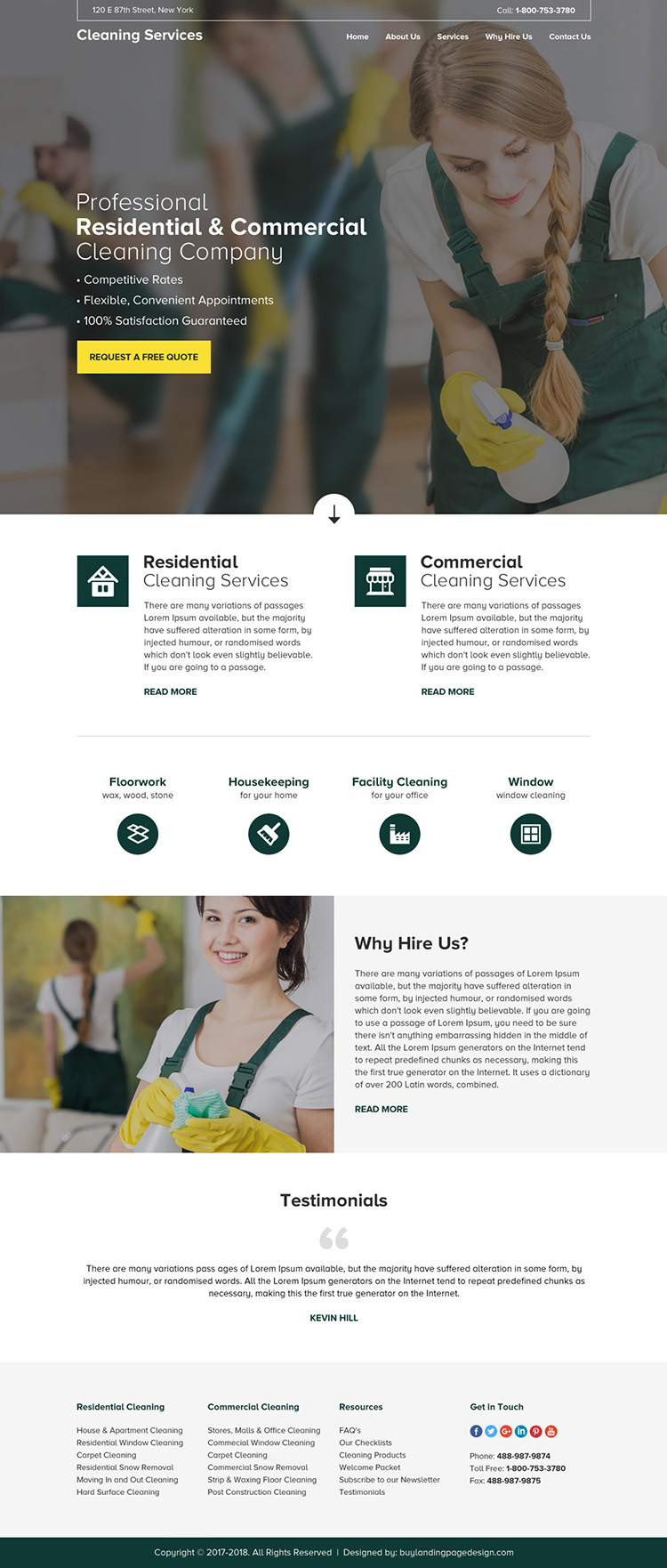 residential and commercial cleaning service company responsive website design