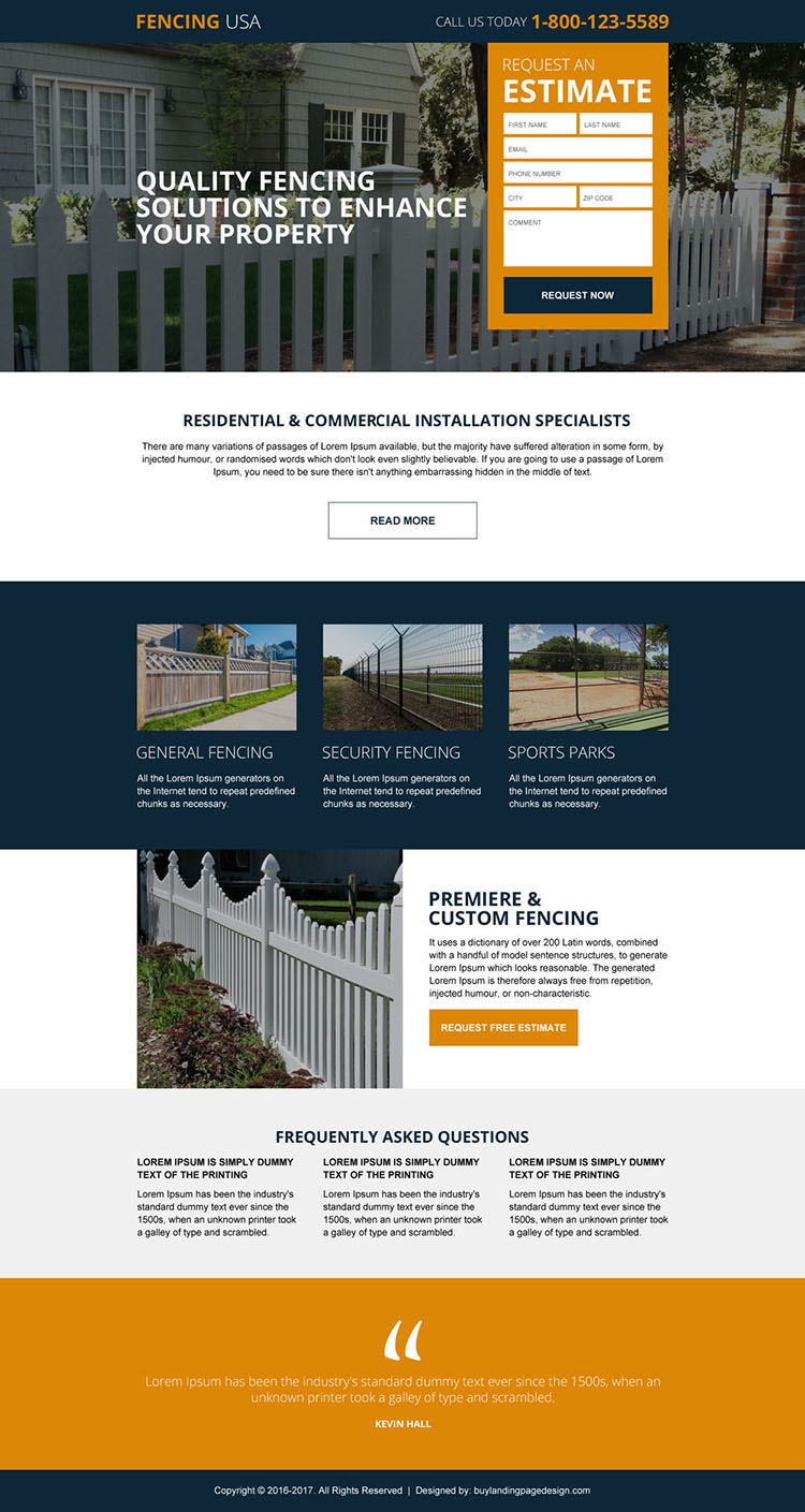 residential and commercial fencing service responsive landing page design