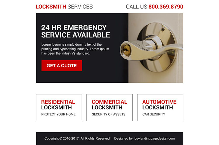 residential and commercial locksmith ppv landing page design