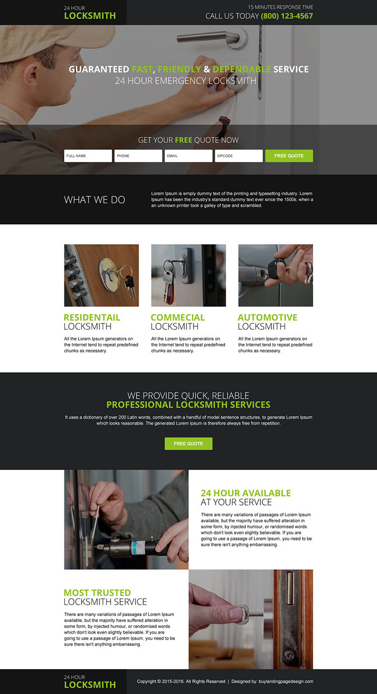 locksmith services free quote smart landing page design