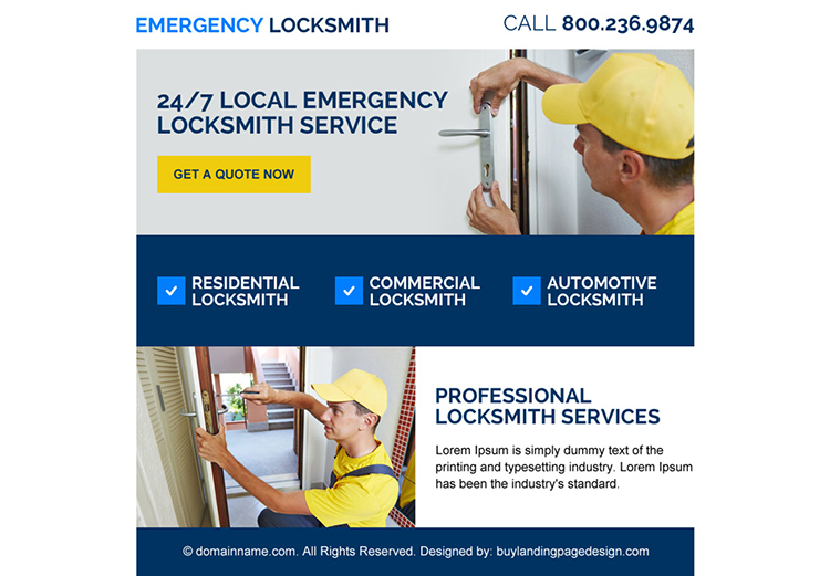 emergency locksmith services ppv landing page design