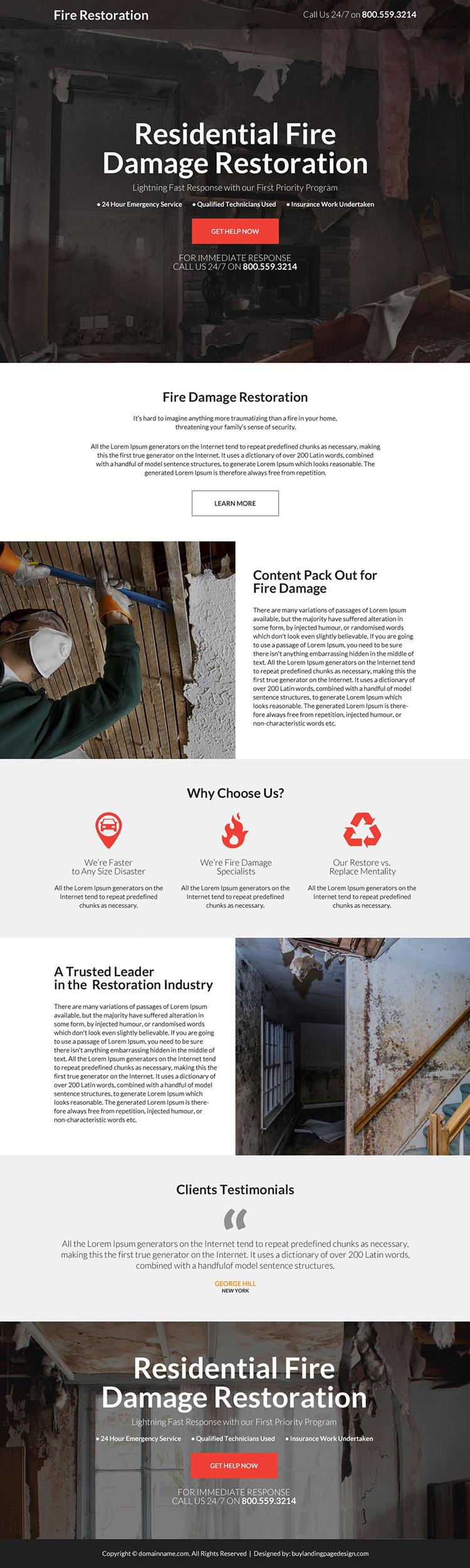 residential fire damage restoration landing page