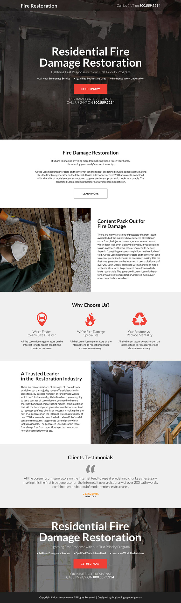 residential fire damage restoration responsive landing page