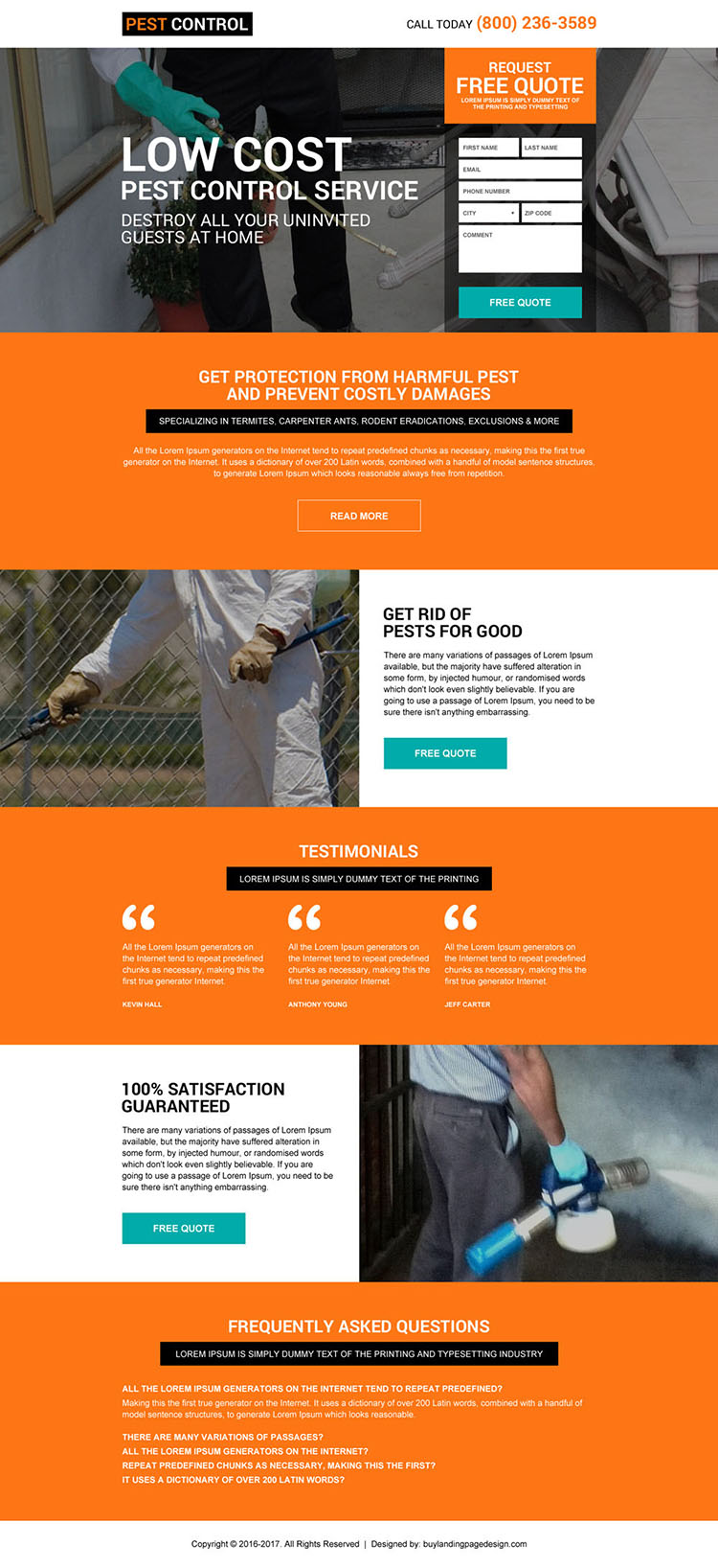 residential pest control service promoting landing page design