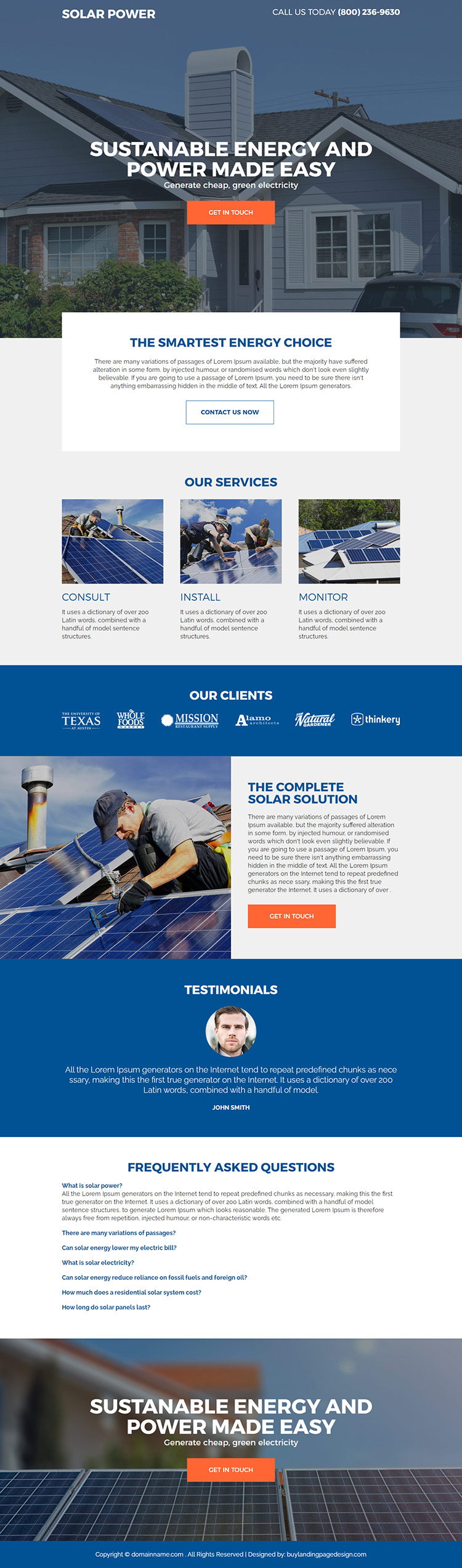 residential solar energy companies responsive landing page design
