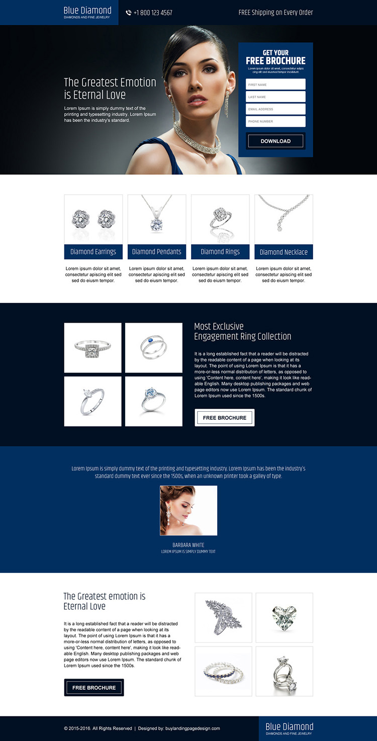 converting responsive jewelry landing page design