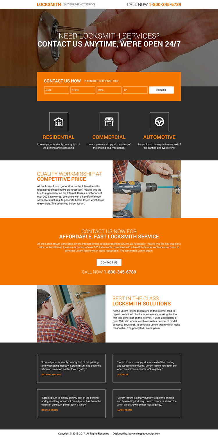 best converting responsive landing page design for locksmith services