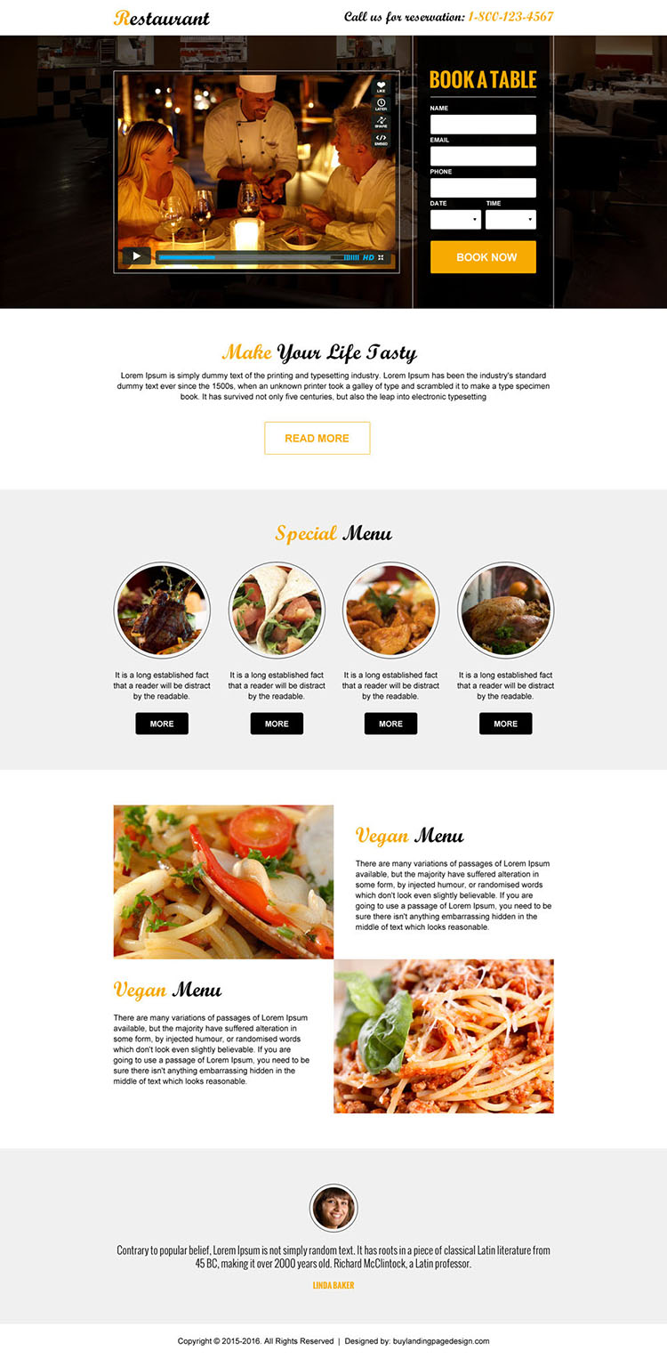restaurant booking clean and appealing video landing page design