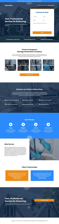 emergency damage restoration company responsive landing page design