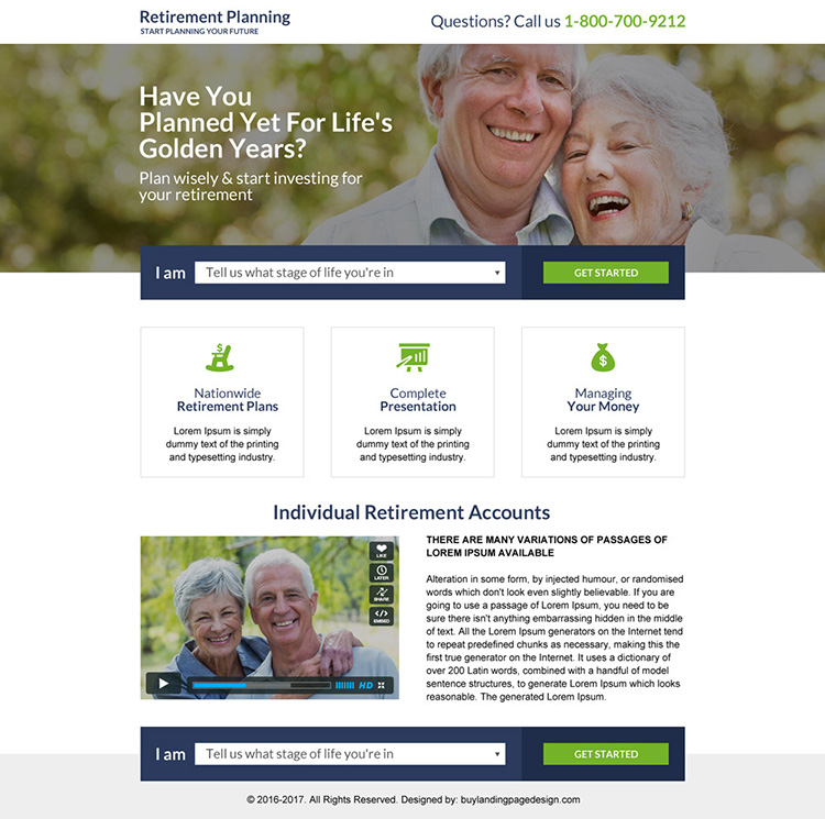 responsive retirement planning mini landing page design