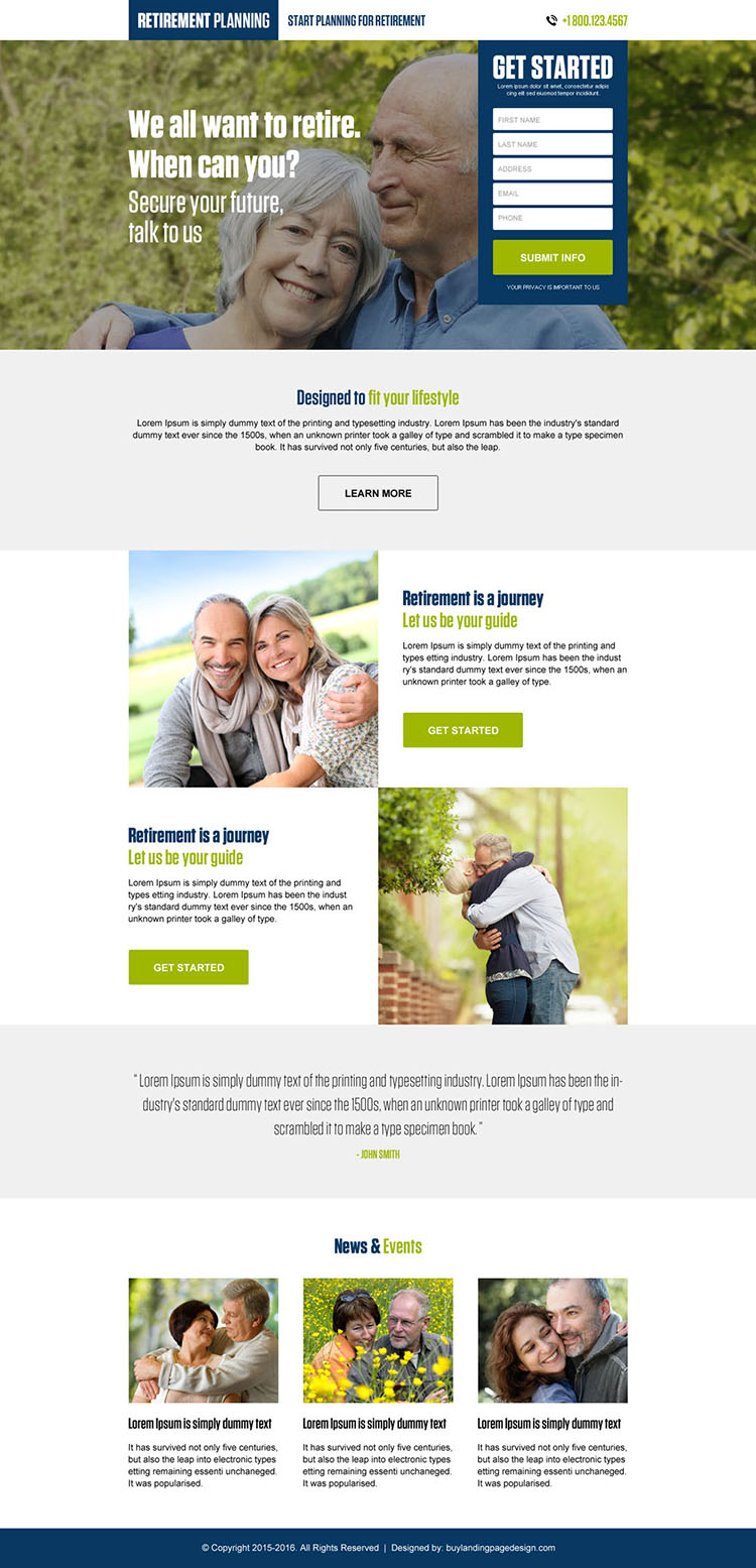 retirement planning clean and converting landing page design